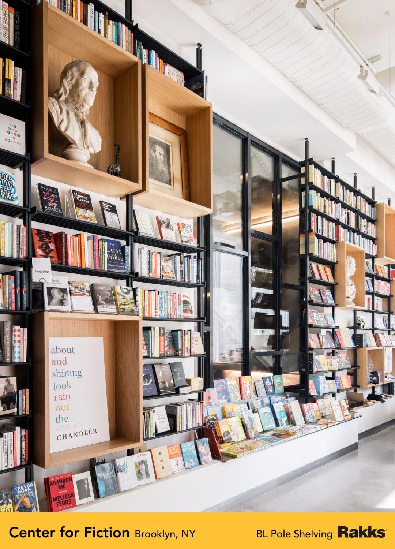 Rakks Shelving at Center for Fiction Brooklyn