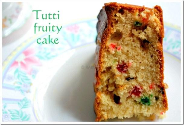 Tutti fruity eggless sponge cake
