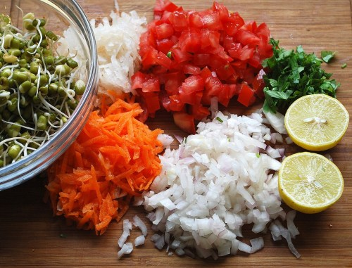 Moong sprouts salad ingredients