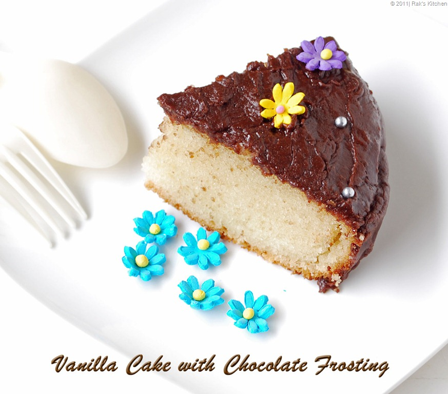 Astounding Eggless Vanilla Cake With Chocolate Frosting Raks Kitchen Funny Birthday Cards Online Aeocydamsfinfo