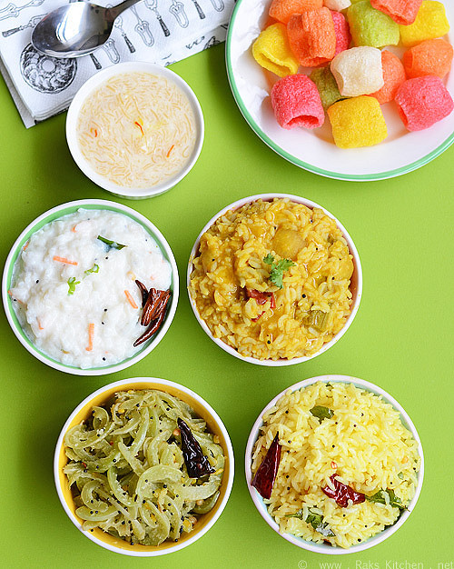Variety lunch - Flavored rice, sambar rice, curd rice, poriyal, sweet, vadams