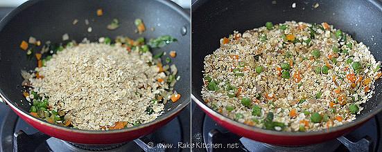how to make oats upma step2
