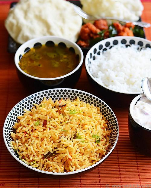 tomato-rice gobi 65 rasam