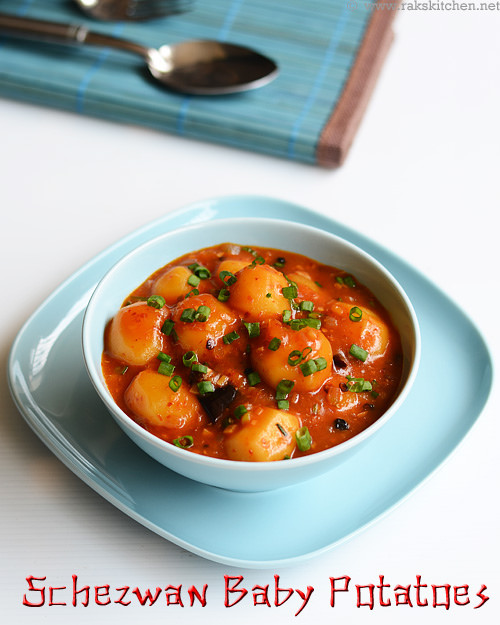 schezwan-baby-potatoes-gravy