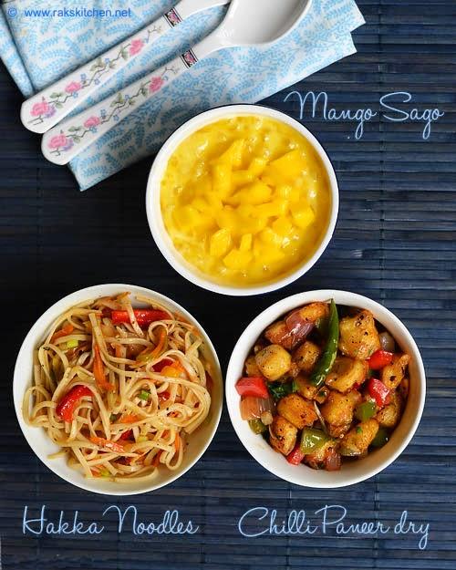 Hakka noodles chill paneer mango sago