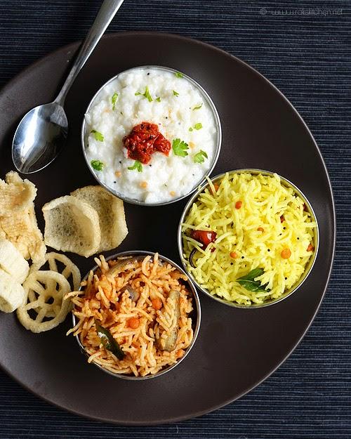 Vaangi Bhaat Lemon Rice Curd Rice Lunch Menu 39 Raks Kitchen