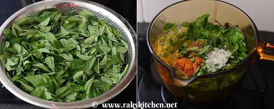 how to make vendhaya keerai kootu  step 2
