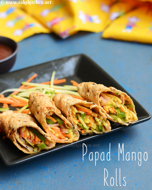 Papad rolls with kairi mango