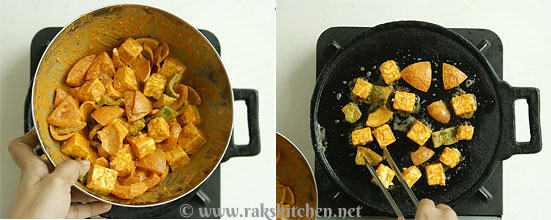 paneer tikka on tawa preparation
