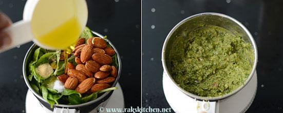 pour olive oil, grind