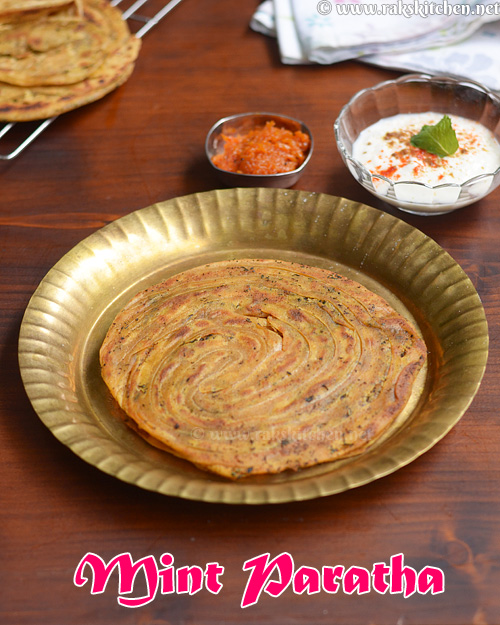 Pudina paratha recipe, mint laccha paratha