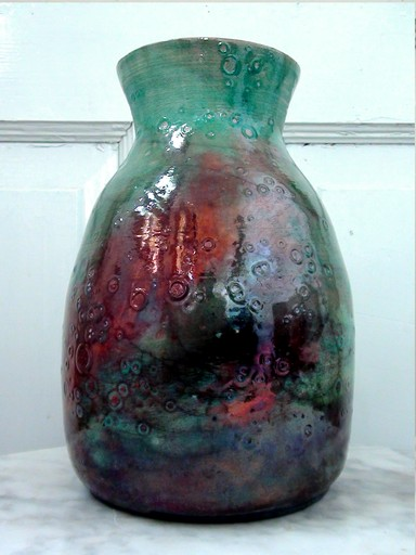 Turquoise, blue, red metallic vase called Thor's Veil