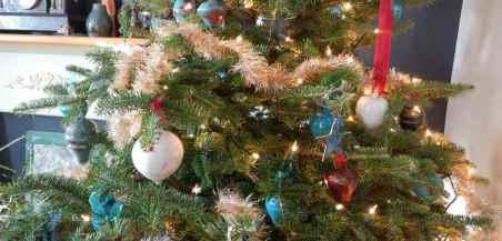 Christmas tree with handmade raku pottery ornaments