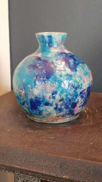 Raku Pottery Vase - Monet's Garden