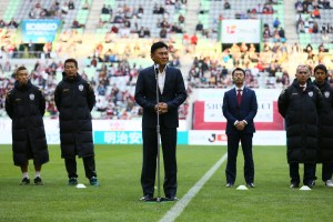 "At Rakuten football has a special place. Hiroshi ""Mickey"" Mikitani, Chairman of Crimson Football Club, Inc., addresses the crowd at the final home game of the season (C) VISSEL KOBE"