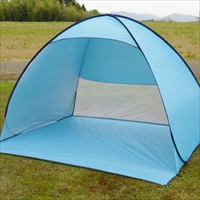 This kind of ultra-portable tent is a common sight at Japanese beaches and parks.