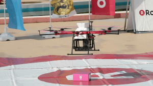 In the first deployment of LTE drone control in a delivery trial, the Sora Raku drone successfully delivered goods to the Inage Seaside Park in Chiba City.