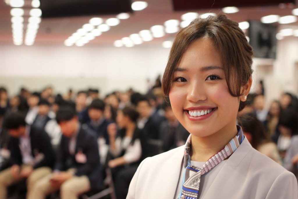 """""""I want to create a better world through internet services,"""" said Rio Otsuka, who represented the group giving remarks at the ceremony."""