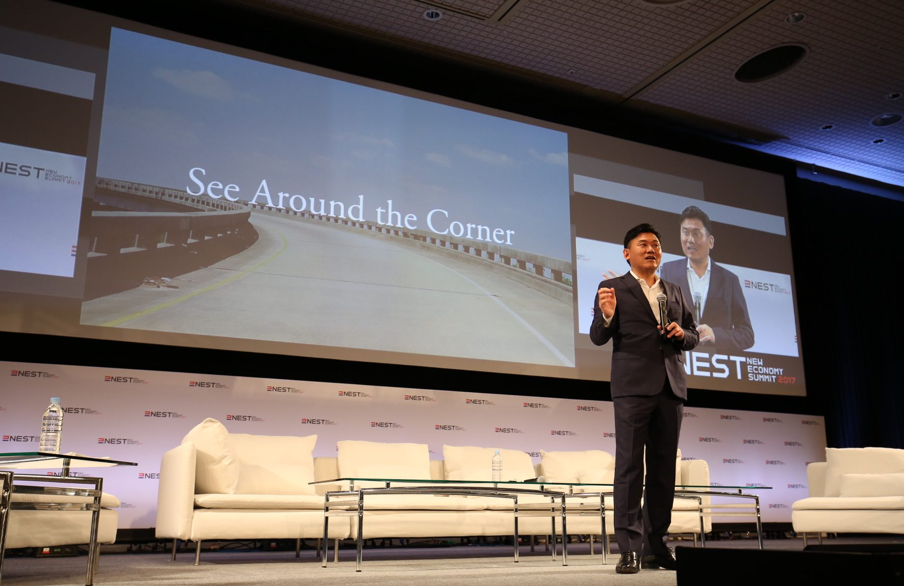 """Mickey Mikitani, Representative Director of JANE and Chairman and CEO of Rakuten, kicked off NEST 2017 by encouraging participants to """"see around the corner."""""""