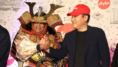 """Rakuten CEO Hiroshi """"Mickey"""" Mikitani and AirAsia CEO Tony Fernandes (who left his suit and tie at home for the event) were on hand for a one-of-a-kind reception at the Chubu Centrair International Airport in Nagoya on October 27th."""