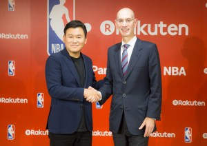 """""""We're absolutely thrilled to be beginning this relationship with [Rakuten CEO Hiroshi Mikitani] and Rakuten, one of the world's most innovative companies,"""" said NBA Commissioner Adam Silver."""