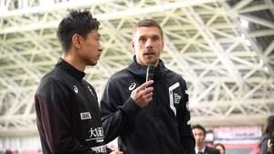 Lukas Podolski, Vissel Kobe's newly announced team captain, speaks to media after the team's home opener.