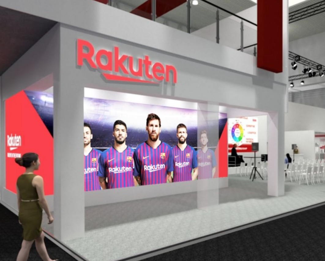Rakuten's booth at MWC 2019 features a stage for presentation, demo rooms and more than a few familiar faces.