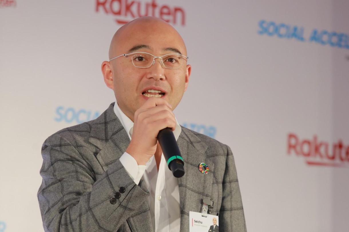 """""""If we can tackle social issues through business, we can ensure that the solution is sustainable,"""" said Rakuten co-founder and Chief People Officer Masatada """"Seichu"""" Kobayashi at Rakuten Social Accelerator Demo Day."""
