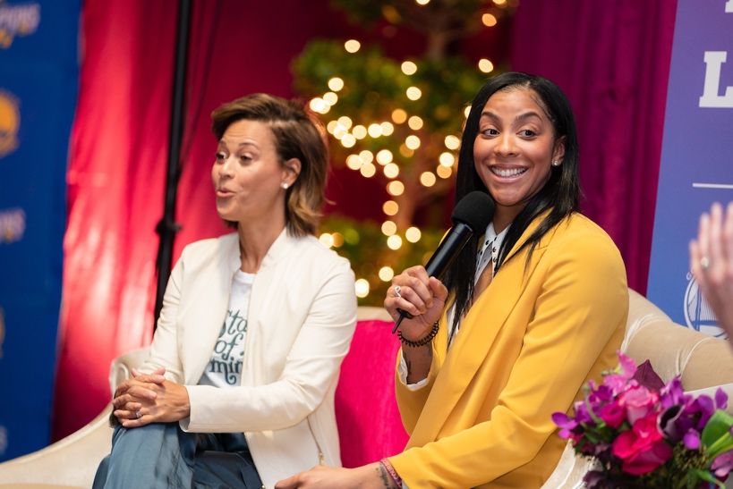 Candace Parker (right) spoke about the female mentors who inspired her growing up, including legendary women's basketball coach Pat Summit and her own grandmother.