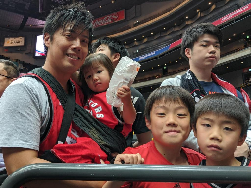 Hisashi and family waiting to greet their Toronto heroes.
