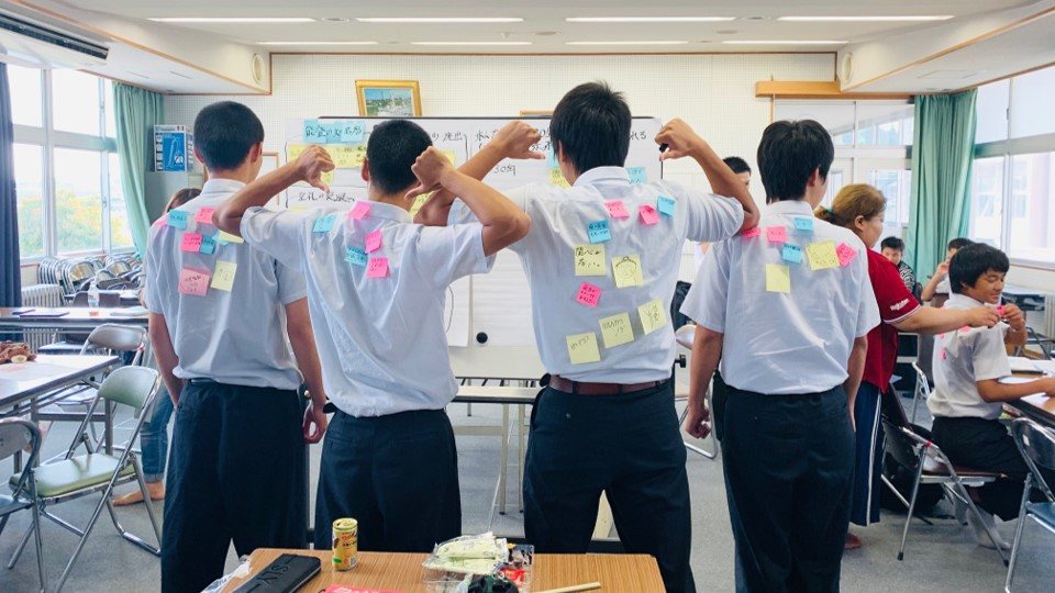 Brainstorming at Noto High School in Ishikawa Prefecture.