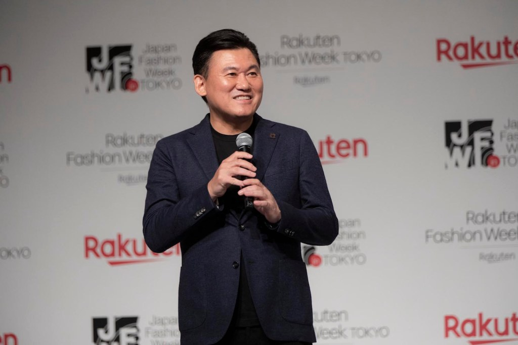 Rakuten CEO Mickey Mikitani on stage at the announcement of Rakuten's partnership with Japan Fashion Week Tokyo in October 2019.