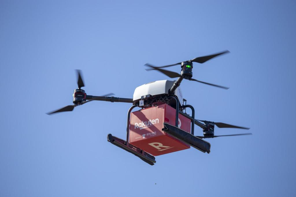 Rakuten Drone's newest test involves delivering up to 5kg of groceries across 5.5km  on ocean.