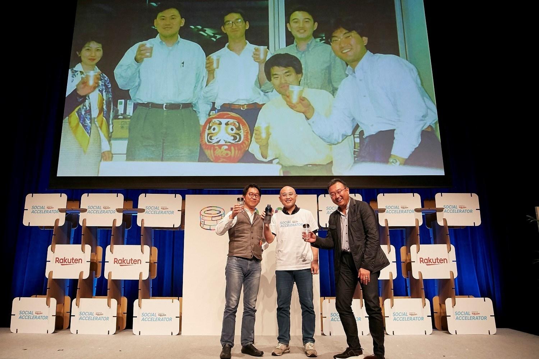"Shinnosuke Honjo, Akio Sugihara and Masatada ""Seichu"" Kobayashi - three of Rakuten's founding members - gathered for a rare joint appearance at recent Rakuten Social Accelerator event in Tokyo."