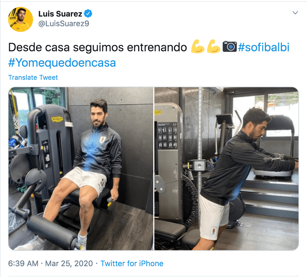 Luis Suarez is continuing to train from home. Credit @LuisSuarez9 on Twitter.