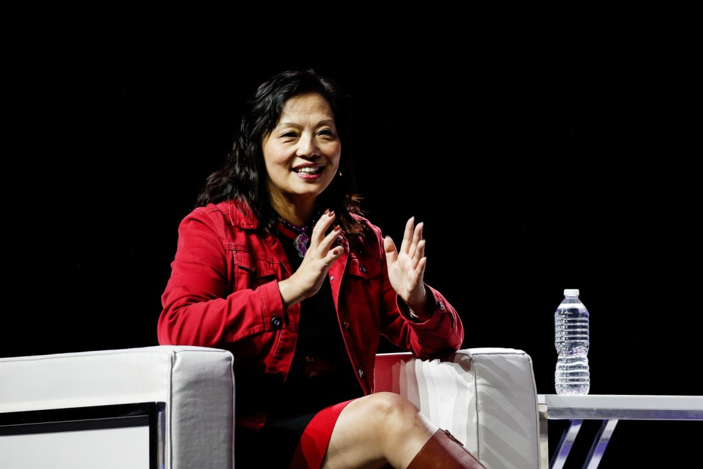 Caroline Chan, vice president and general manager of Intel's Network Business and Incubator Division speaking at the 2019 Rakuten Optimism U.S. event in San Francisco.