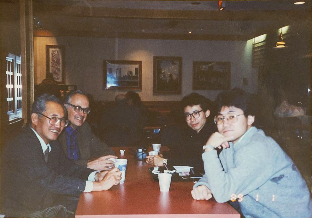 My father, Ryoichi Mikitani (far left) with me (far right) and friends at Harvard Business School.
