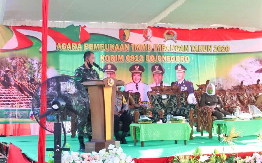 Bupati Bojonegoro Secara Resmi Membuka TMMD Imbangan 2020 Kodim 0813 Bojonegoro, di Lebaksari, Baureno 1