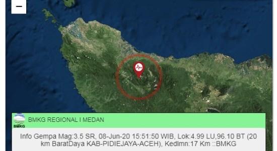 Pusat gempa di Kabupaten Pidie Jaya, Aceh. Foto: Tangkapan layar