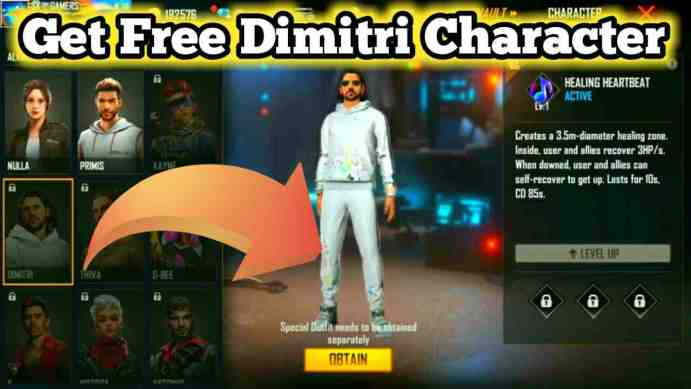 Free Fire Me Free Dimitri or Thiva Character