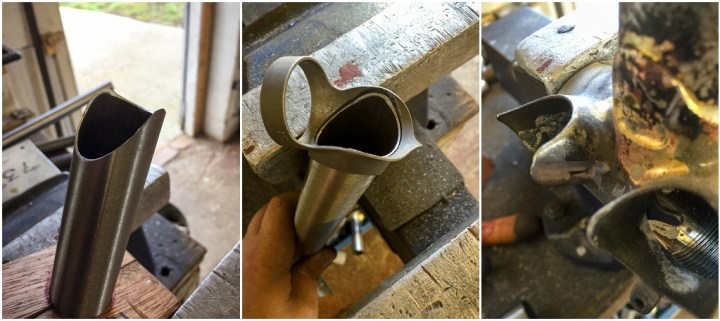 Dave Yates Frame Building Course Day 2 Cutting Downtube Head tube mitre