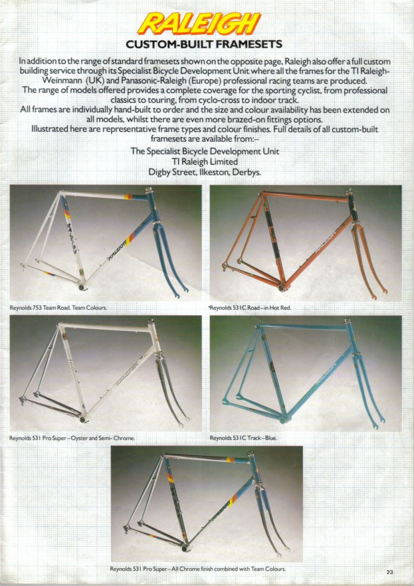 Raleigh SBDU Custom Built Framesets 1985