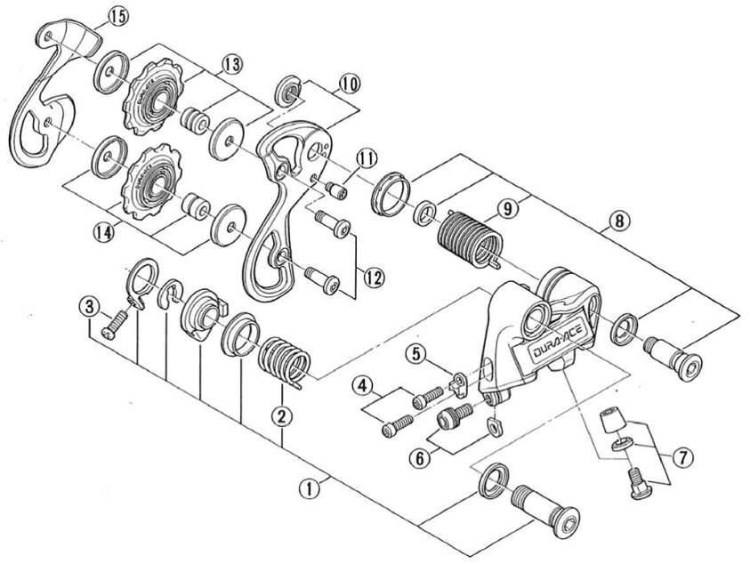 Shimano Dura-Ace 1984 RD-7400 6 Speed Exploded View (Later design RD-7400)