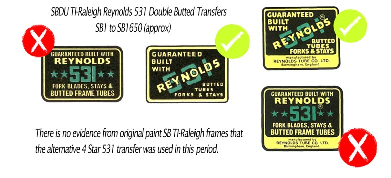 transfer set Not a reproduction. AUTHENTIC 1979 Reynolds 531