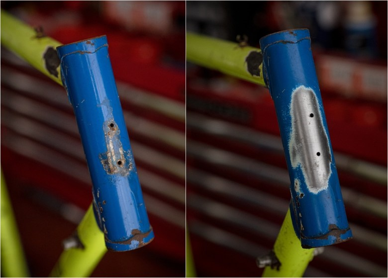 SB8200 1986 SBDU Ilkeston 531c Randonneur Head Tube Before and After