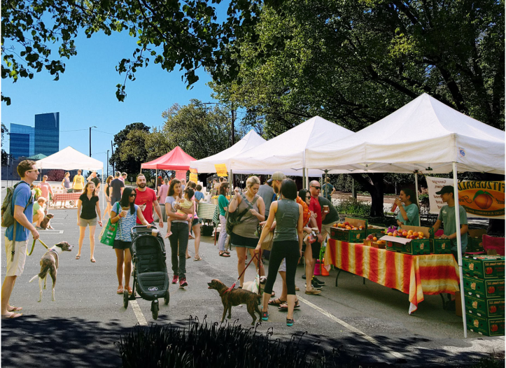 What a weekend downtown Raleigh farmers market might looks like.