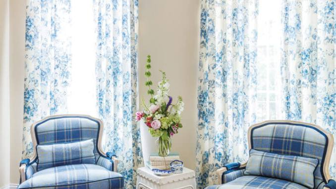 Blue tones in a styled room