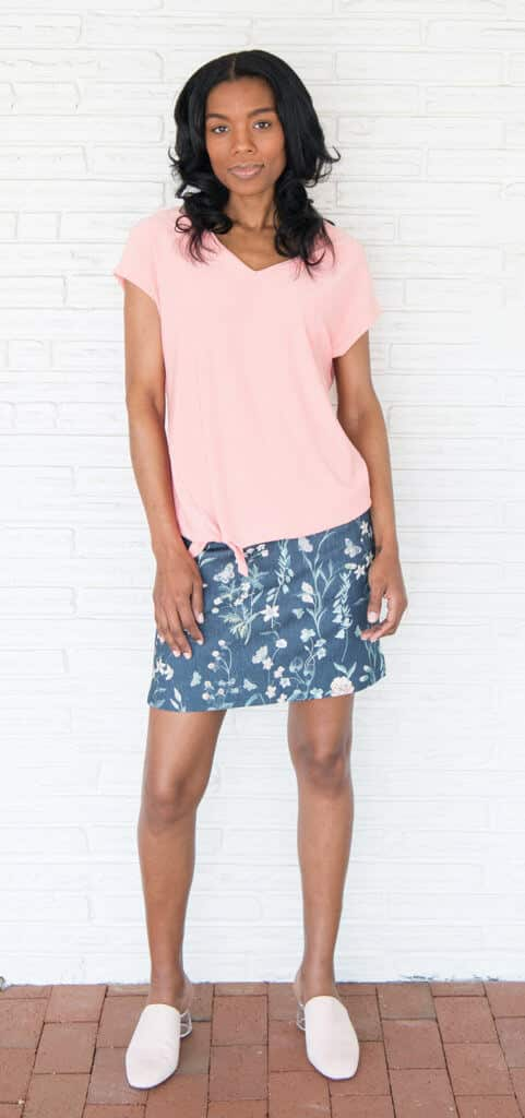 Lisette L tie-front top, $84; Lisette L Japanese Garden skort, $144; both from C.T. Weekends