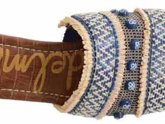 Sam Edelman Brandon blue raffia sandal, $80; Main & Taylor