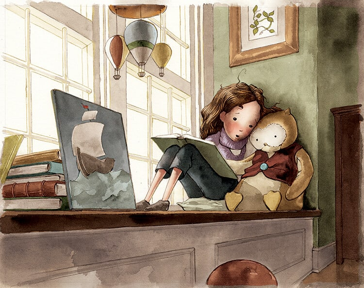"""Olive reading to her stuffed owl, Hoot, in the children's book, """"Brave Enough for Two."""""""